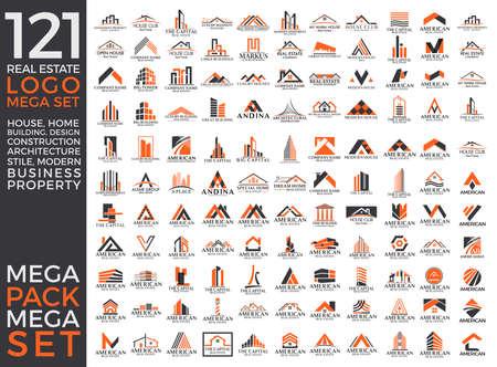 logotipo de construccion: Conjunto Grande y Grupo Mega, Inmobiliaria, construcción de vectores Logo Diseño EPS 10