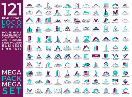 Big Set and Mega Group, Real Estate, Building and Construction Vector Logo Design Eps 10 Ilustrace