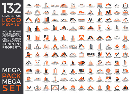 Big Set and Mega Group, Real Estate, Building and Construction Vector Logo Design Eps 10 Vettoriali