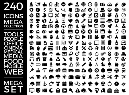 Set Of Icons, Quality Universal Pack, Big Icon Collection Vector Design Eps 10  イラスト・ベクター素材