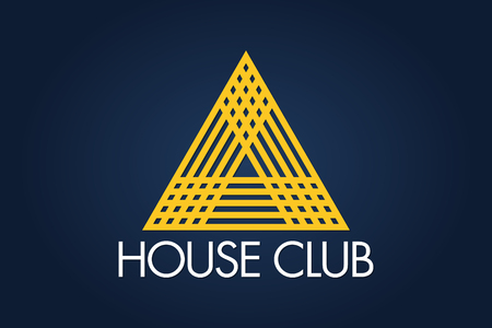 'House Club' icon with yellow overlapping triangles on dark background, Logo Vector Design Eps 10