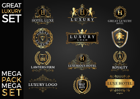Great Luxury Set, Royal and Elegant Logo Design Template Vector