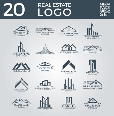 Big Set and Mega Group, Real Estate, Building and Construction Vector Logo Design Vectores