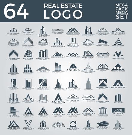Big Set and Mega Group, Real Estate, Building and Construction Vector Logo Design Illustration