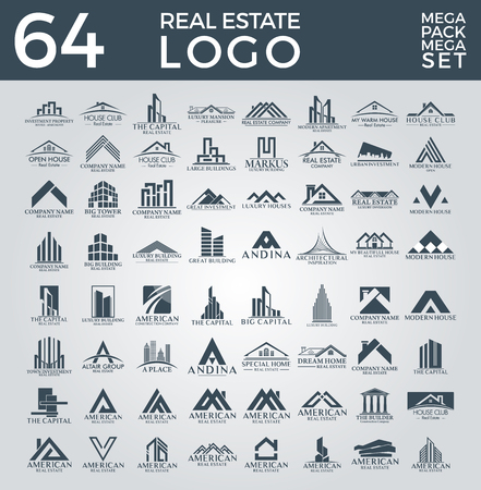 Big Set and Mega Group, Real Estate, Building and Construction Vector Logo Design Vettoriali