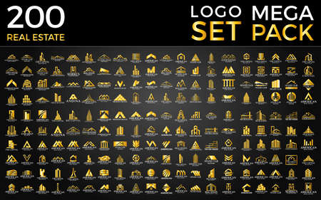 Mega Set and Big Group, Real Estate, Building and Construction Logo Vector Design