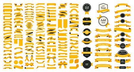 Beautiful Ribbons, Tags and Bows Collection Set Vector Design Иллюстрация
