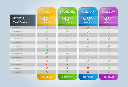 Pricing Table Design, Pricing Srvices Eps 10