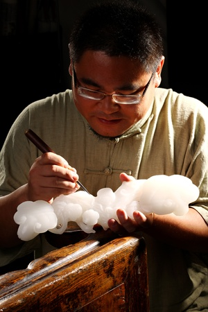 Man carving on the jade