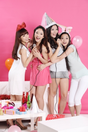 party time together with young group