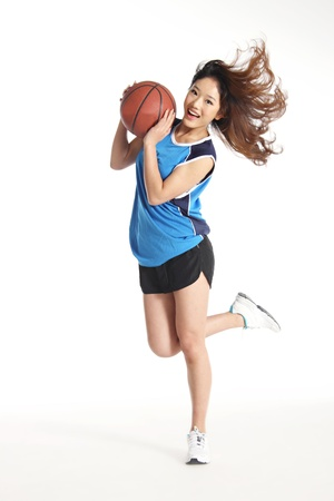 woman basketball player isolated on white