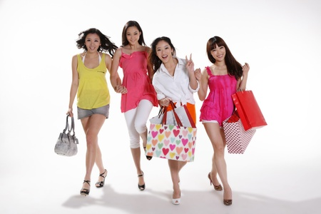 young women go shopping