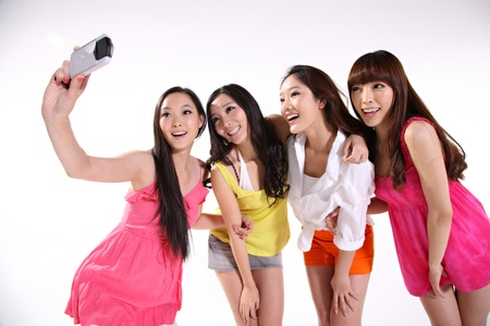 four friends: happy young women Stock Photo