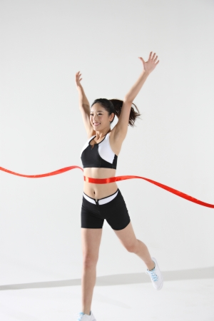 Young woman with finish line Stock Photo - 16141976