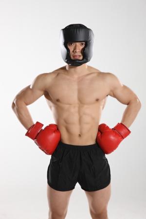 hombres sin camisa: Retrato de boxer macho