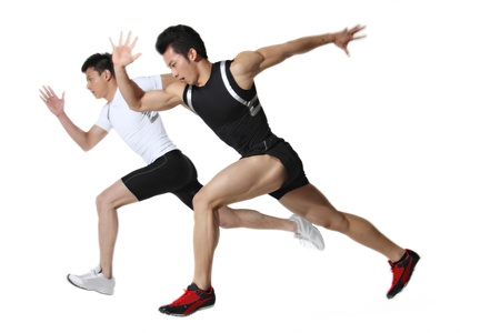 athleticism: Male runners,close-up  Stock Photo