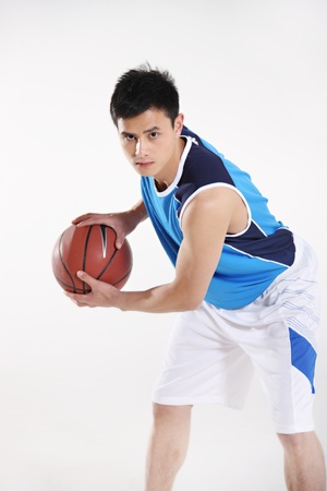 chinese adult: Basketball player  Stock Photo