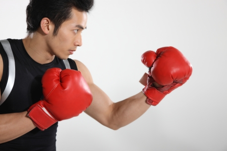 well build: Portrait of male boxer  Stock Photo