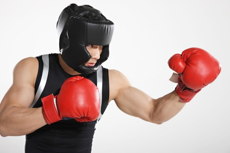 cut the competition: Portrait of male boxer  Stock Photo