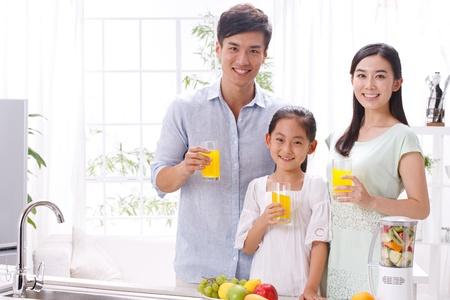 chinese drinks: family in kitchen