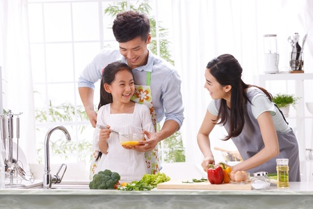 family in kitchen photo