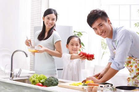familial affection: family in kitchen