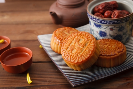 Moon cakes and Chinese tea
