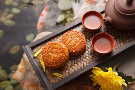 Moon cakes and Chinese tea Stock Photo - 21929702