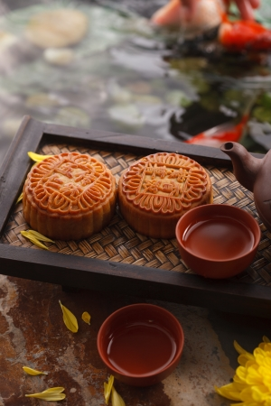 Moon cakes and Chinese tea Stock Photo - 21832425