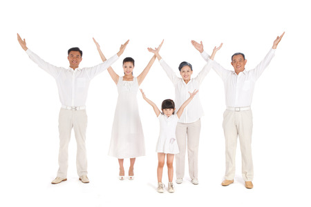 Whole family hands up photo