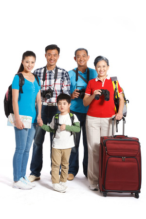 Whole family travelling Stock Photo