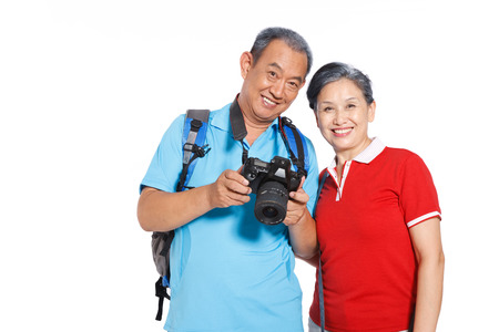 Old couple travelling photo