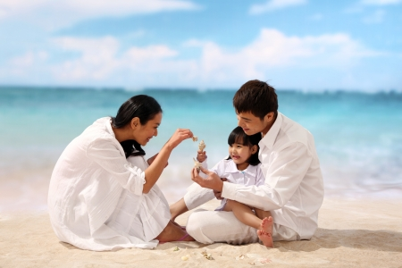 Family of three playing at beach photo