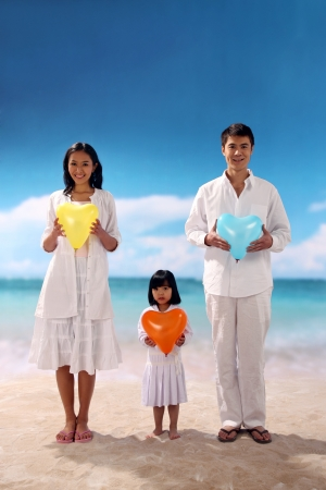 Family of three on beach photo