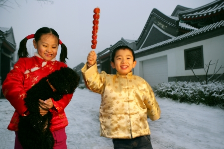 two chinese children playing with a black dog Stock Photo - 23303891