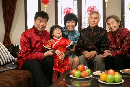 A shot of Chinese family reunion in the house  Stock Photo - 23325759