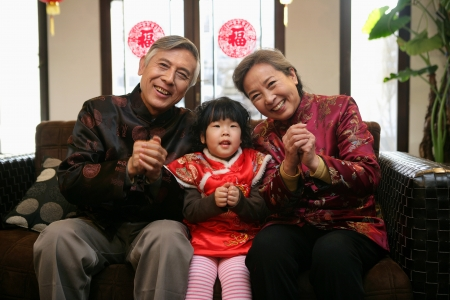 A shot of Chinese family reunion in the house  Stock Photo - 23325761