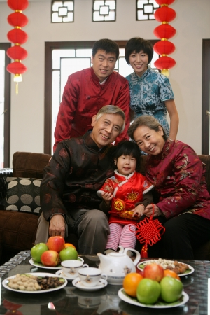 A shot of Chinese family reunion in the house  Stock Photo - 23325837