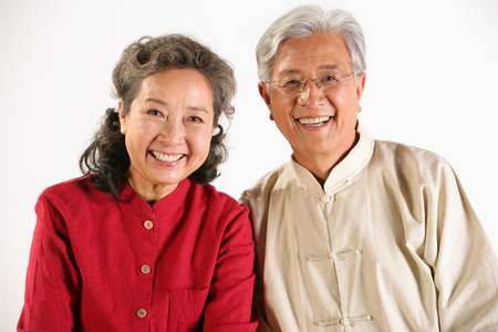 Old couple smiling together photo