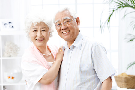 couple home: A shot of old couple at home