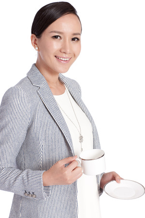 studio shots: A shot of businesswoman drinking coffee Stock Photo
