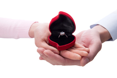 A shot of Woman and man holding ring photo
