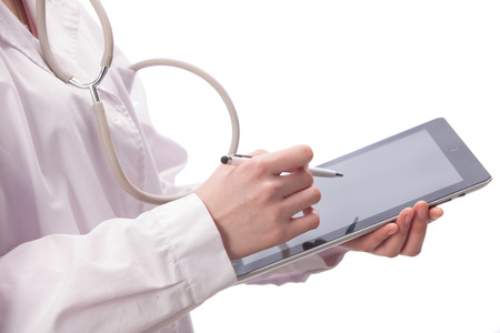 A shot of Doctor using tablet photo
