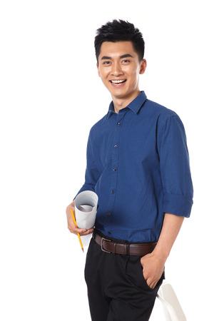 hands on waist: Young businessman protrait Stock Photo