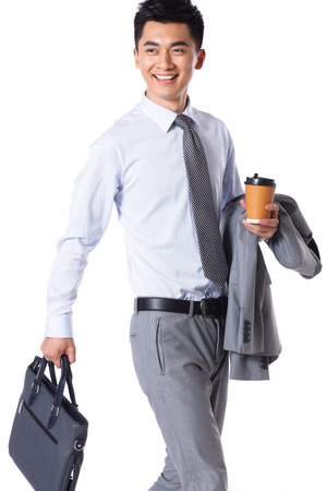 walking away: Young businessman protrait Stock Photo