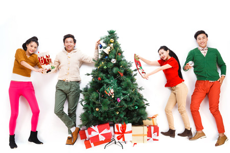 Happy young people in Christmas photo