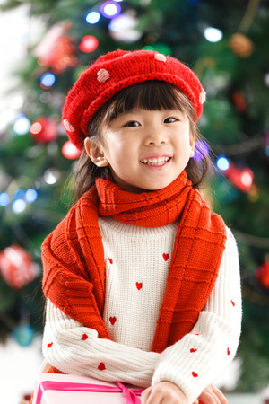 Happy little girl in Christmas photo