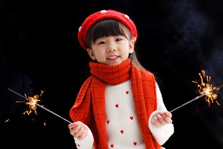 5 6 years: Happy little girl in Christmas