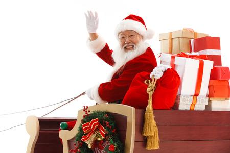 looking over shoulder: Happy Santa Claus in Christmas