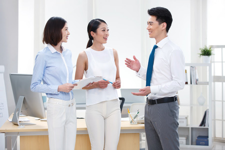 white collar worker: Young business people Stock Photo